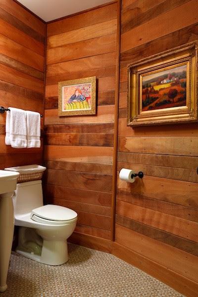 Bathroom with Wood Paneling - Eclectic - Bathroom - Other ...