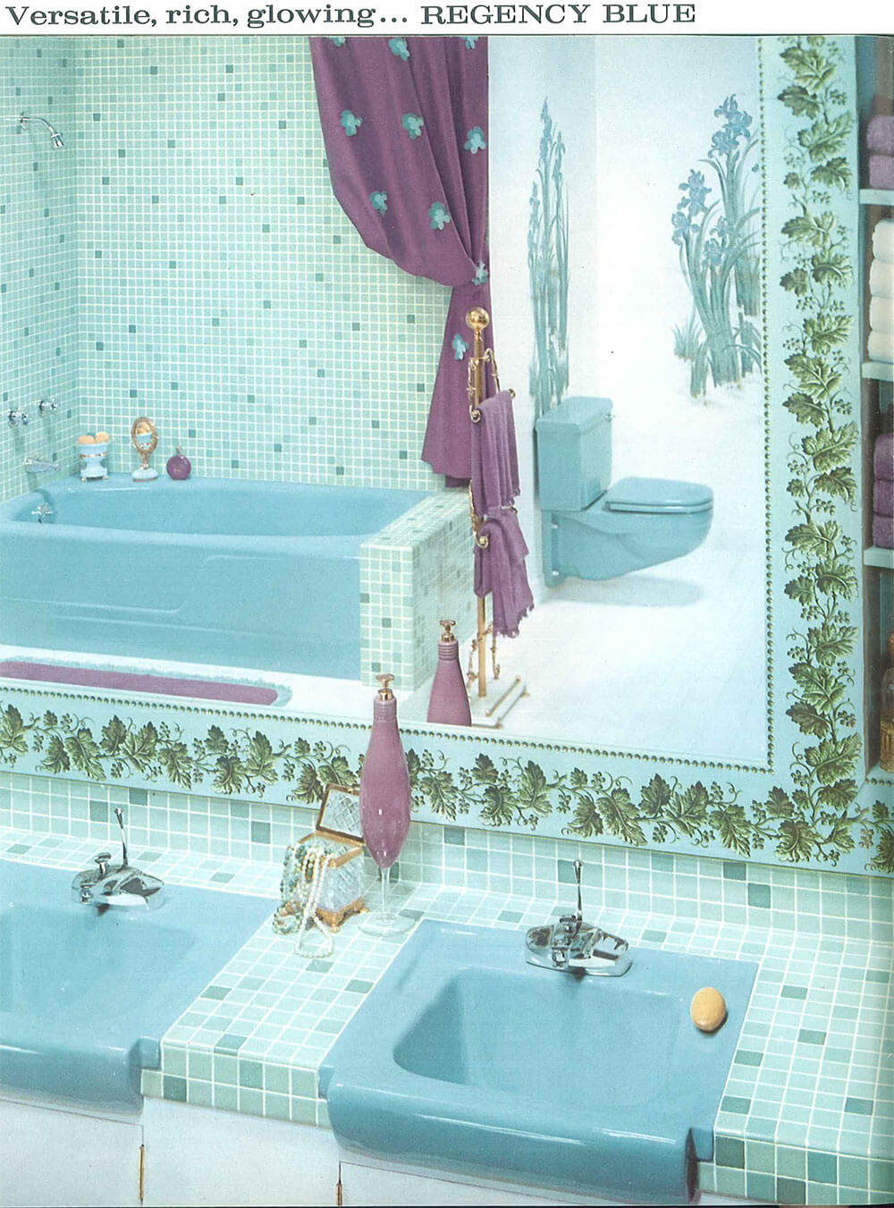 Vintage blue bathroom colors from seven manufacturers from ...