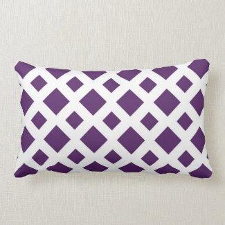 Purple Diamonds on White Throw Pillows