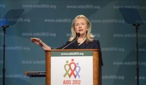 La secretaria General de Estado de EE.UU., Hillary Clinton, en la XIX Conferencia internacional del sida en Washington, EE.UU.EFE