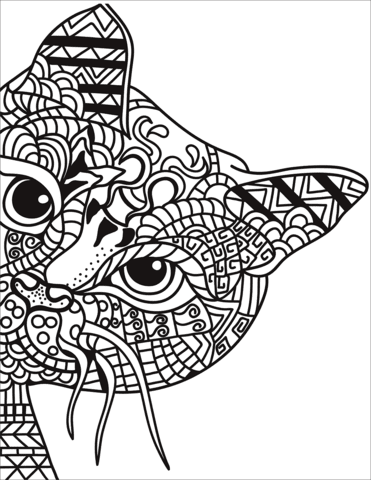 Zentangle Cat coloring page | Free Printable Coloring Pages