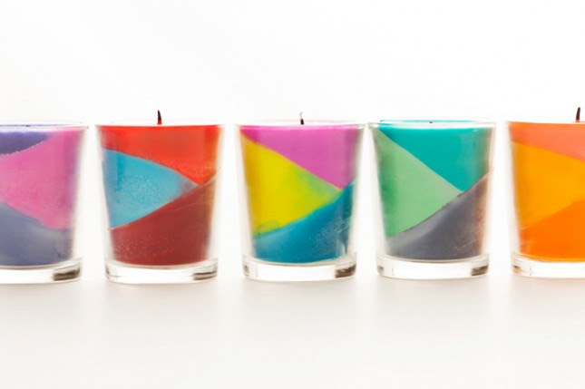 Use Crayons to Create Color Block Candles   Brit + Co