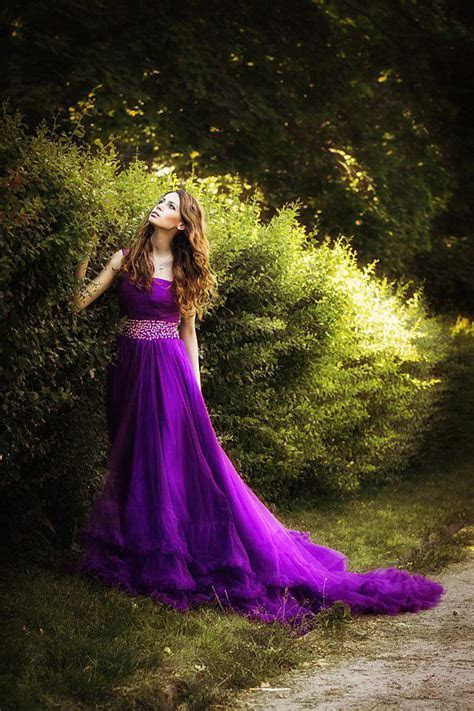 Discount Purple Tulle Wedding Dresses Sweep Train