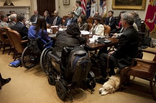 Group that met with President Obama, Mike and Miguel are pictured at the head of the table