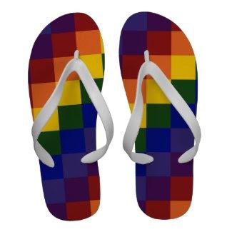 Checkered Rainbow Flip-Flops