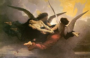 Depiction of a soul being carried to heaven by...
