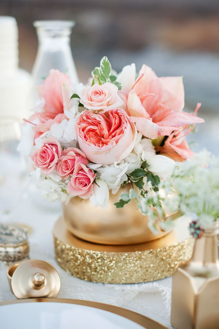 #Peach #Centerpiece | On SMP - http://www.StyleMePretty.com/utah-weddings/2014/01/07/gold-peach-mother-daughter-bridal-inspiration/ Kristine Curtis Photography