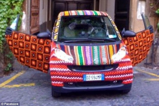 Stitchin' wheels: Not even cars can escape the unrelenting crocheting of the yarnbombers