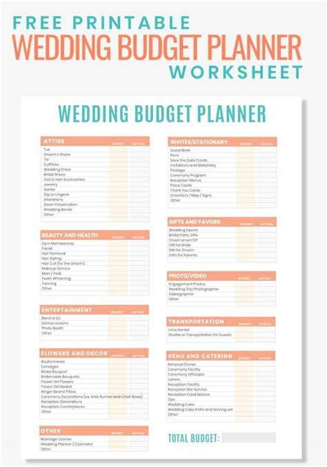 Free Printable Wedding Budget Planner Worksheet