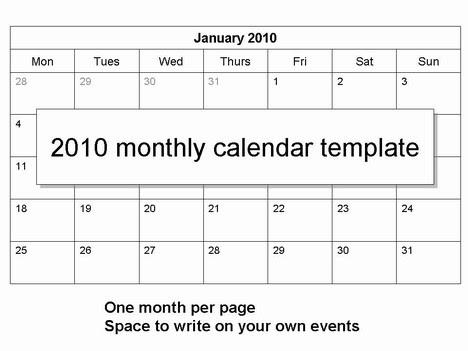 calendar template 2010. 2010 Monthly Calendar Template