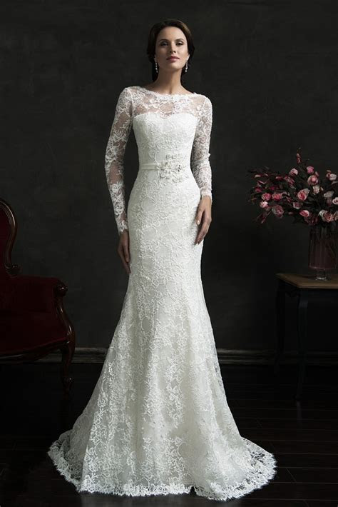 Sexy Backless Long Sleeve Lace Wedding Dresses 2015 Hot