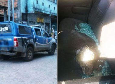 Viatura da PM é apedrejada e pichada após tiroteio em Valéria