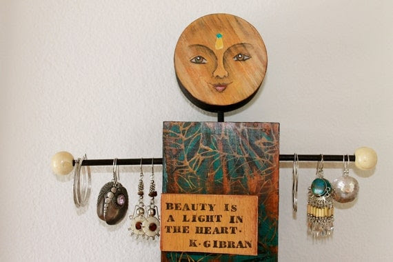 Mixed Media Jewelery Holder/ The Natural Bling Lover