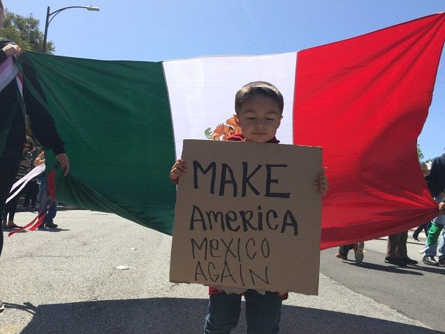 Image result for illegal aliens rally with mexican flags