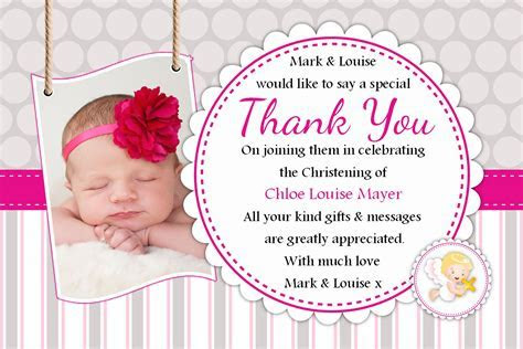 10 Personalised Christening Baptism Thank you PHOTO Cards