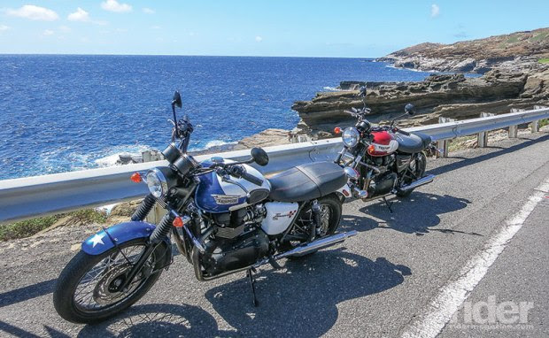 Natural beauty and mechanized majesty along the Oahu coastline.