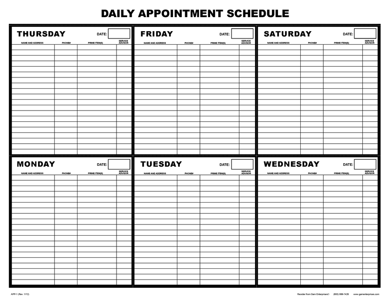 Daily Schedule Sheet   Daily Planner