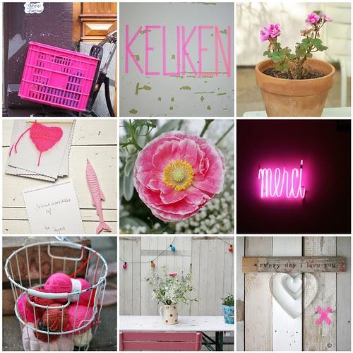neon pink summer by wood & wool stool
