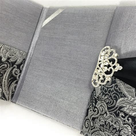 Black & Metallic Silver Brocade Wedding Invitation Pocket