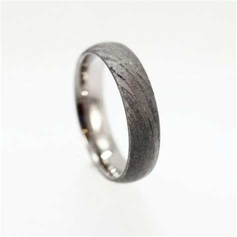 Gibeon Meteorite Ring With Titanium, Rare Gibeon Meteorite