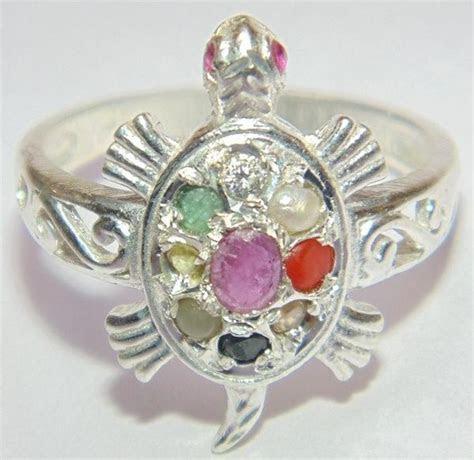 Silver Tortoise shaped ring with Navratna stones ? Devshoppe