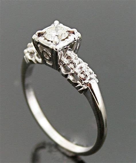 1940s Engagement Ring   Vintage Gold and Diamond Ring