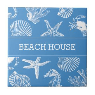Beach House Sea Animals Drawings Ceramic Tile