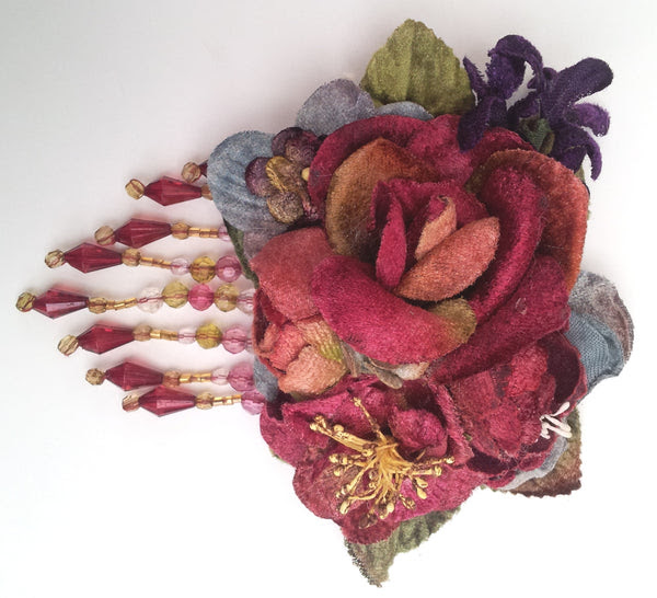 rose posy clip with beads