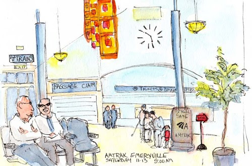 Emeryville Amtrak Station, ink & watercolor