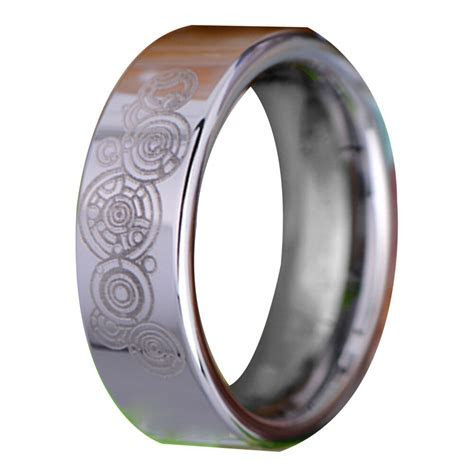 Classic Wedding Band Ring Doctor Who Silver Pipe Tungsten
