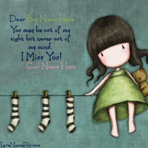 Write Name On Cute Girl Miss You Picture