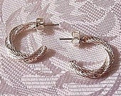 Twisted Rope Hoops Pierced Earrings Silver Plated Vintage Textured Open Round - PrettyJewelryThings