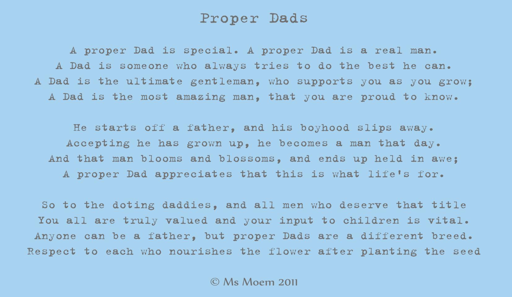 Proper Dads Ms Moem Poems Life Etc