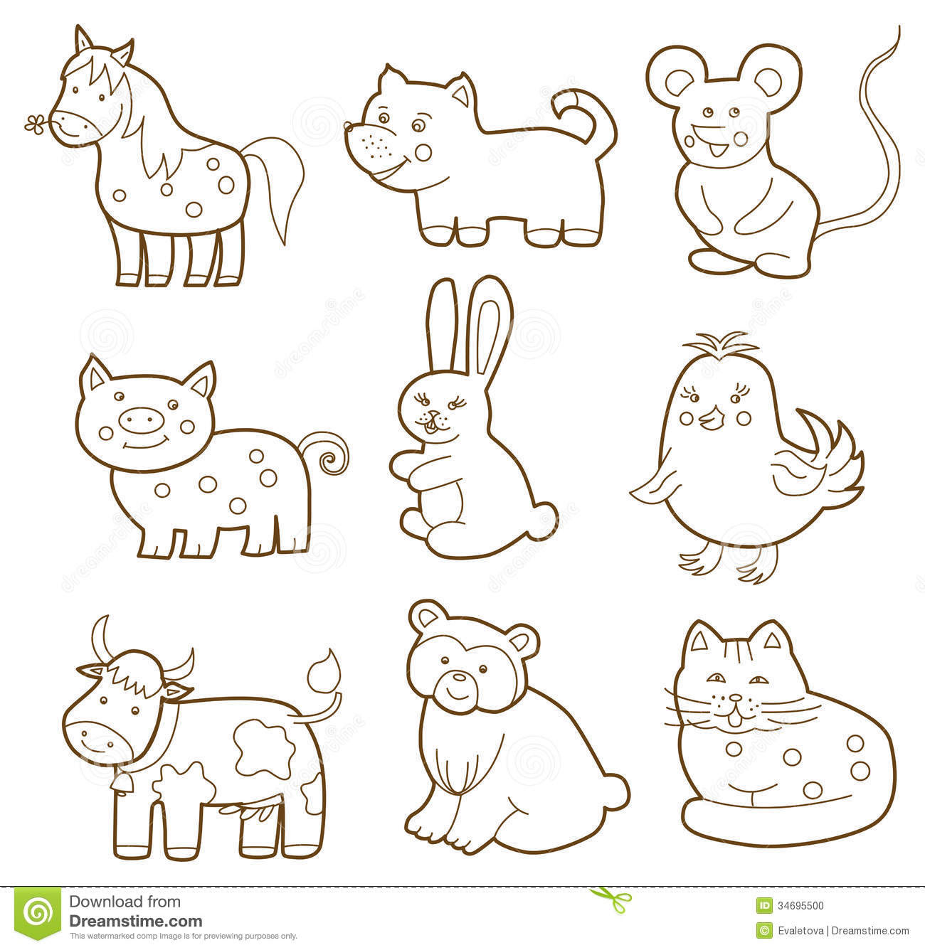 Domestic Animal Coloring Pages Color Book Coloring Pages