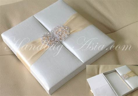 Embellished Ivory Silk Wedding Box For Invitation Cards
