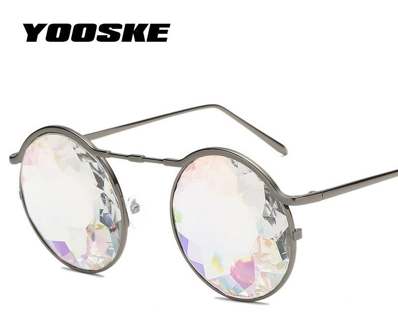 e764400b76f77 Comprar YOOSKE Caleidoscópio Rodada Mulheres Óculos Rave Festival De Sol  Dos Homens Do Metal Holográfico Festa Cosplay óculos Eyewear 2018 Retro  Baratas ...