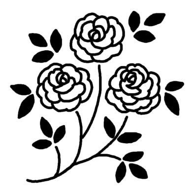 バラ3バラ薔薇花無料白黒イラスト素材