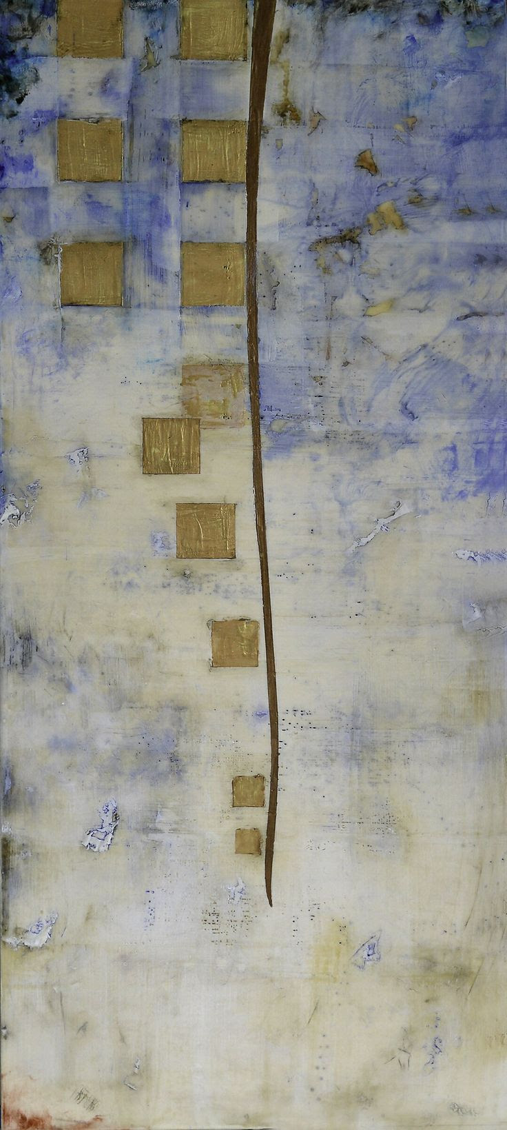 "'Boketto'-36"" x 16""-encaustic on panel by Lisa Bick"