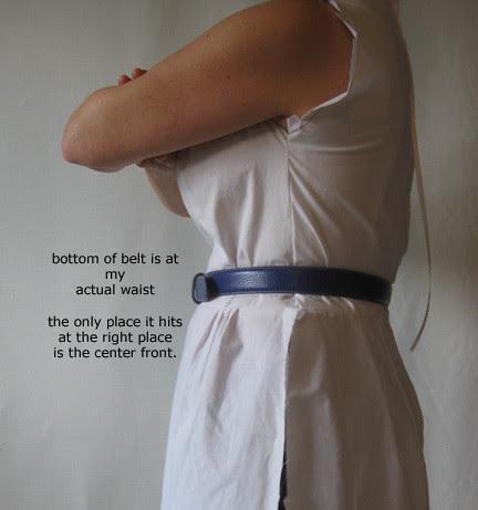 BLue vintage muslin waist adjustment