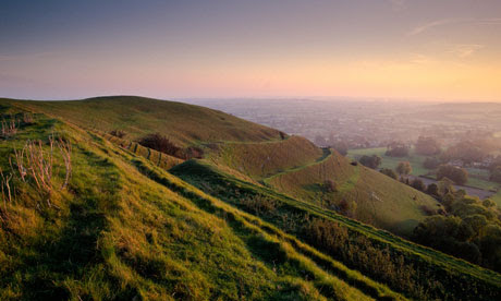 Hambledon Hill, Dorset, UK, in late afternoon sunlight. Image shot 1997. Exact date unknown.
