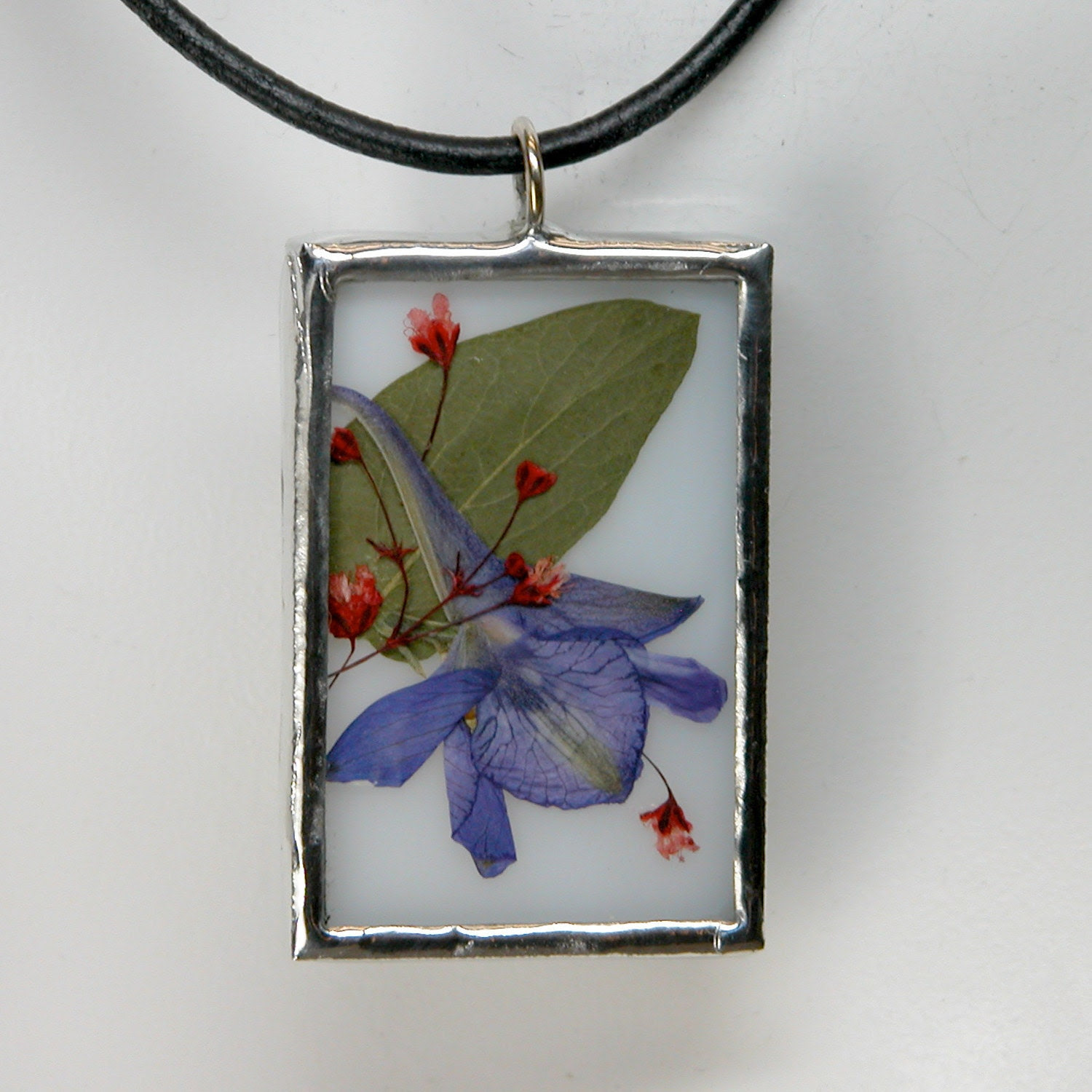 Stained Glass Pendant with Real Pressed Flowers LARKSPUR