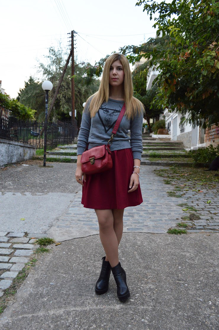 burgundy dress grey sweater13