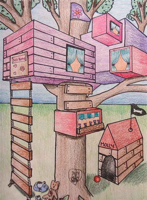 point perspective treehouse art lessons  grade