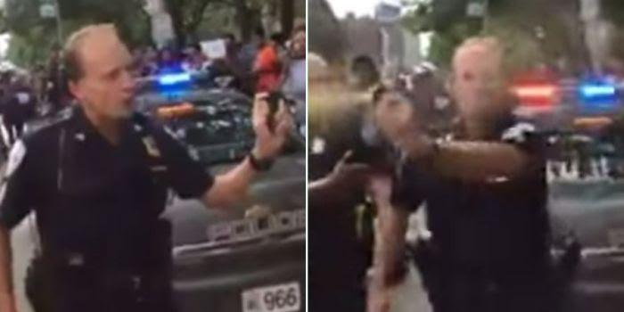Cleveland. Un agente usa lo spray al peperoncino contro gli attivisti di Black Lives Matter