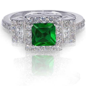 Emerald Green Princess Cut Simulated Diamond Genuine