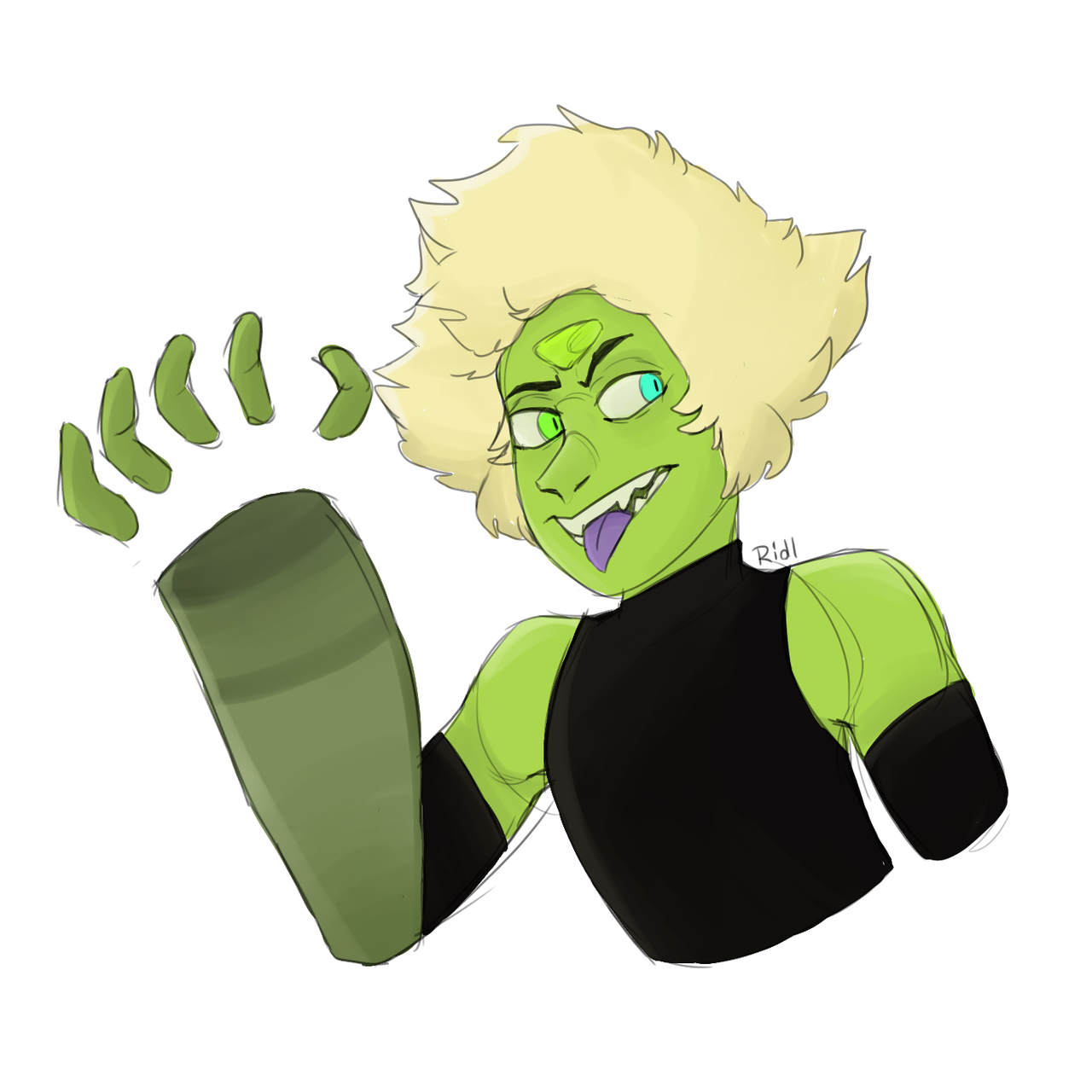 ★ Peridot with two different eyes bc why not ★ [[MORE]]I just keep making different versions and i don't know which one to post, this is madness