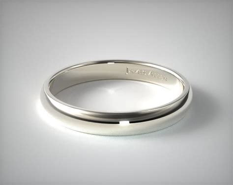 14k White Gold 4mm Slightly Domed Comfort Fit Wedding Ring