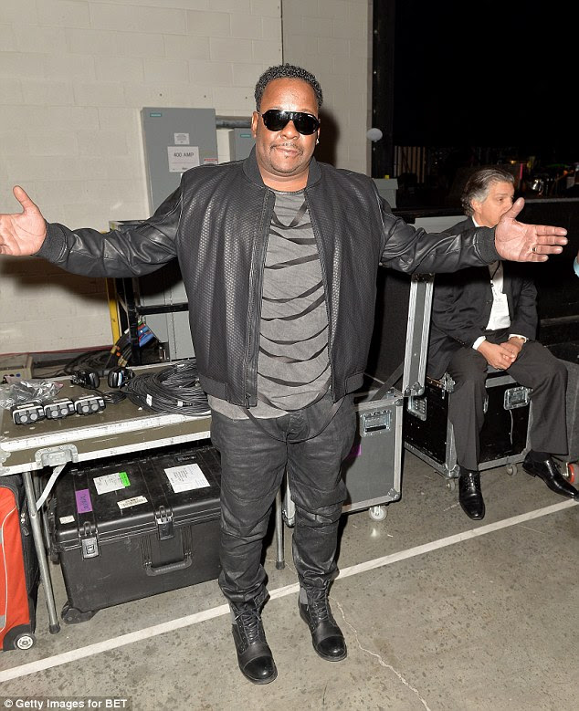 Keeping it casual: Bobby Brown was another who kept it casual, with some black boots, black pants, and a grey shirt, although his leather jacket did have some interesting black strips across the chest area