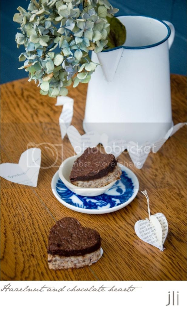 hazelnut and chocolate hearts
