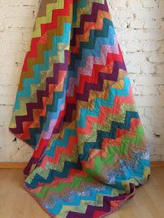 Beautiful colors chevron quilt